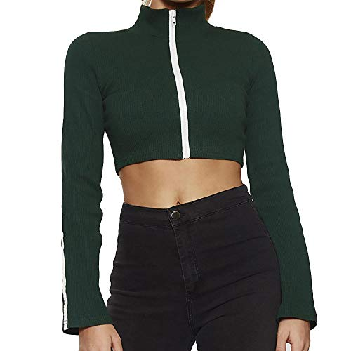 - Realdo Womens Crop Tops, High Neck Stripe Panel Solid Long Sleeve Zipper Front Top Blouse(Large,Green)