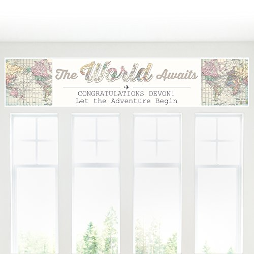 Big Dot of Happiness Custom World Awaits - Personalized Travel Themed Party Decorations Party Banner
