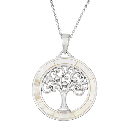 Beaux Bijoux Sterling Silver Mother of Pearl Tree of Life Circle Pendant with 18