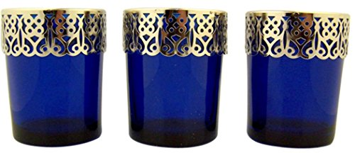 Blue Glass Votive Candleholder with Silver Tone Metal Detail, Lot of 3, 2 5/8 Inch