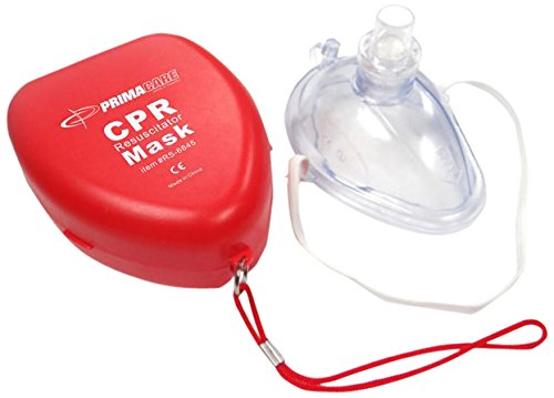 Primacare RS-6845 CPR Mask in Red Hard Plastic Carrying Case - Portable First Aid CPR Barrier Mask