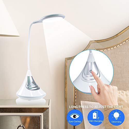 LED Desk Lamp [Rechargeable], Eye-Caring Dimmable Table Lamp,Touch Control Bedside Wireless Lamp for Books/Bedroom/Kids ()