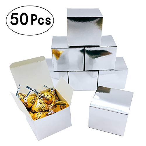 (Silver Mirror Cube Candy Treat Boxes Set Gift Box Bulk Wedding Party Favors Glitter Silver Baby Shower Party Supplies 2x2x2 inch, 50pc)
