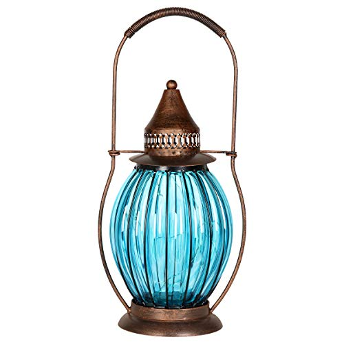 Exhart Solar Blue Glass Antique Lantern w/ 12 LED Firefly Lights - Vintage LED Lantern, Solar-Powered Glass Lantern, Indoor Lantern, Garden Art Solar Lantern, 5.2