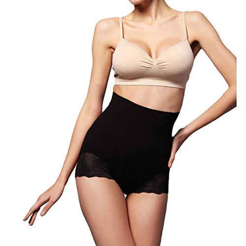 Shymay Women's Shapewear Hi-waist Boyshort Lace Trim Postpartum Recovery Shaper, Black, Large