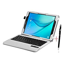 Tab S2 8.0 Keyboard case, KuGi ® High quality Detachable Bluetooth Keyboard Stand Portfolio Case / Cover+ Free stylus & OTG cable for Samsung Galaxy Tab S2 8.0 tablet. (For Tab S2 8.0, White)