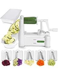 Spiralizer 5-Blade Vegetable Slicer, Strongest-and-Heaviest Duty Vegetable Spiral Slicer, Best Veggie Pasta Spaghetti Maker for Keto/Paleo/Gluten-Free, comes with Container & 4 Recipe Ebooks