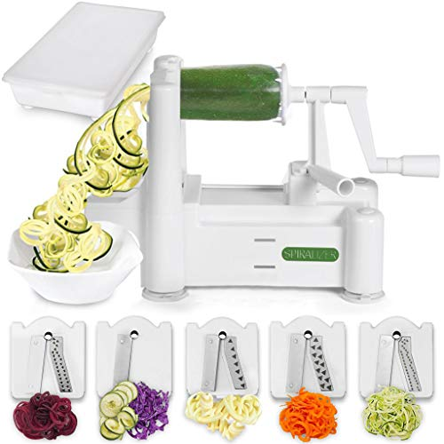 Spiralizer 5-Blade Vegetable/Cheese/Egg Slicer/Shaver, Strongest-and-Heaviest Duty Spiral Slicer, Best Veggie Pasta Spaghetti Maker for Keto/Paleo/Gluten-Free, Comes with Container & 4 Recipe Ebooks