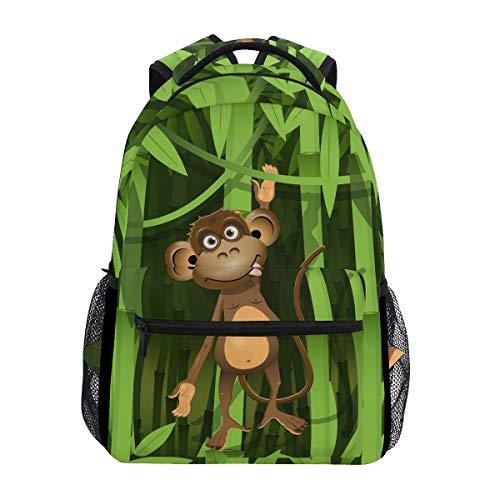 JOYPRINT Backpack Animal Monkey Bamboo School Shoulder Bag Daypack Travel Hiking for Boys Girls Men Women