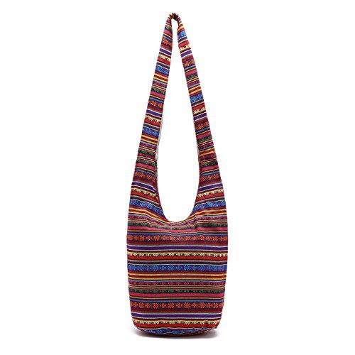Handmade Sling Hipster Thai Zip Crossbody Bag Hobo Red bag Top Messenger Bag Shopping Bag ZIIPOR g8TxqZn