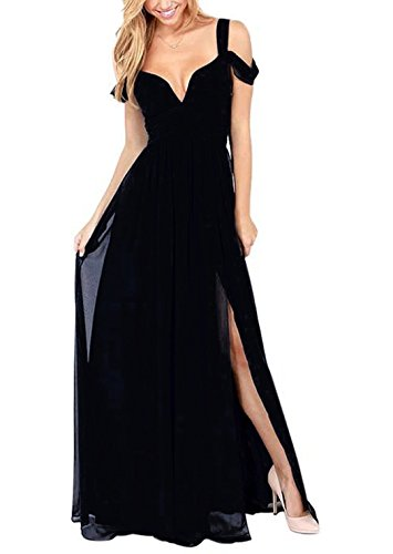 Hodoyi Women's Sexy Off-Shoulder Straps Long Chiffon Split Beach Prom Party Dress-FBA...