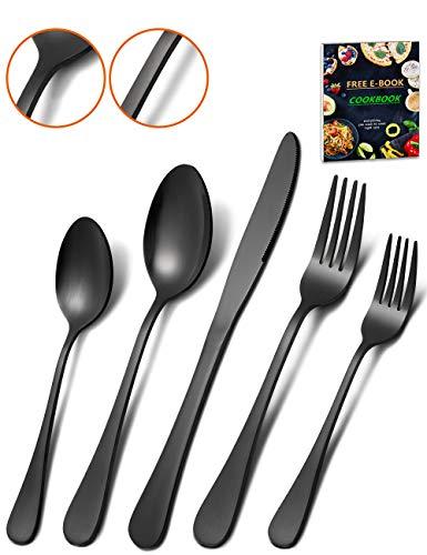 Matte Black Silverware Set - HEAVY DUTY 45 Pieces Stainless Steel Flatware Utensils Cutlery Tableware Steak Knife Fork and Spoon Service for 8