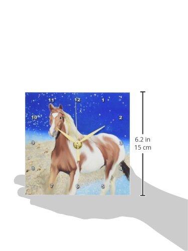 6 by 6 3dRose dc/_4588/_1 Paint Horse Desk Clock