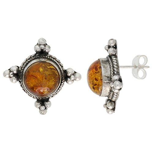 Sterling Silver Earrings, Beads & 10mm Cabochon Cut Russian Baltic Amber Stone, 13/16 inch tall (Sterling Silver Amber Cabochon Earrings)