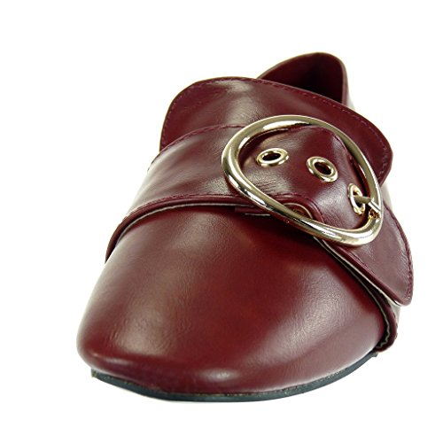 Angkorly - damen Schuhe Mokassin - Slip-On - Schleife - golden Blockabsatz 1 CM Rot