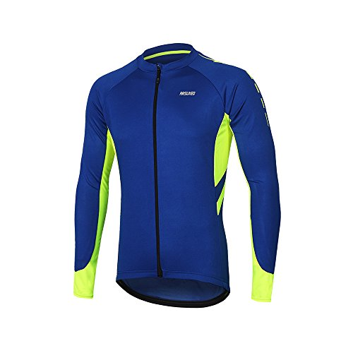 ARSUXEO Men's Full Zipper Long Sleeves Cycling Jersey Bicycle MTB Bike Shirt 6030 Blue Size L ()