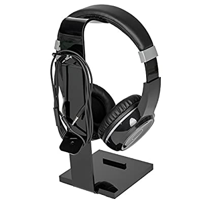 Gaming Headset Headphone Stand Holder Hanger with Cable Orgnizer for Desk, Black