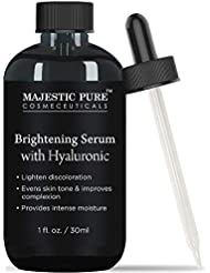 Skin Brightening Serum with Hyaluronic Acid by Majestic Pure - Lighten Discoloration - Evens Skin Tone & Improves Complexion, Provides Intense Moisture - 1 fl oz