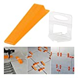 REFURBISHHOUSE Tile Positioning Leveler Leveler Plastic Clips Tiles Auxiliary Tool Pressing Clamp Tile Tool (300 x Leveling Pad + 100 x Reusable Wedge)
