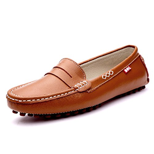 SUNROLAN 838-zong7 Casual Women's Genuine Leather Penny Loafers Driving Moccasins Slip-On Boat Flats Shoes (7 B(M) US, (Ladies Penny Loafers)