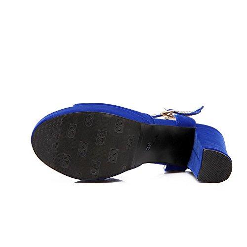 AgooLar Mujeres Tacón ancho Cuero Tachonado Hebilla Puntera Abierta Sandalia Azul