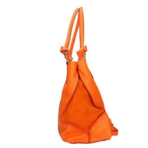 à fabriqué Italie en cuir Orange en Chicca main Cm véritable Borse 36x28x17 Sac Femme tq8wg