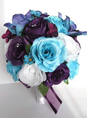 - 17 Piece Wedding Bouquet Package Bridal Bouquet Set Aqua Blue Purple Orchid Silk Wedding Flower Wedding Bridesmaid Bouquet RosesandDreams Bride Bouquet, Corsage, Boutonniere