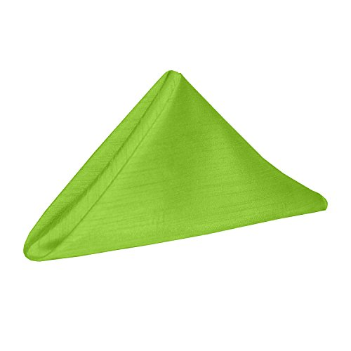 - Ultimate Textile -10 Dozen- Reversible Shantung Satin - Majestic 17 x 17-Inch Cloth Napkins, Lime Green