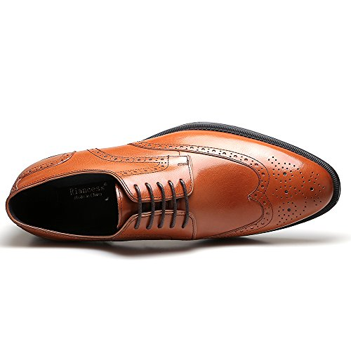 Riancess Mens Brogue Derby cowhide Oxfords Shoes Brown h3zyWU8L