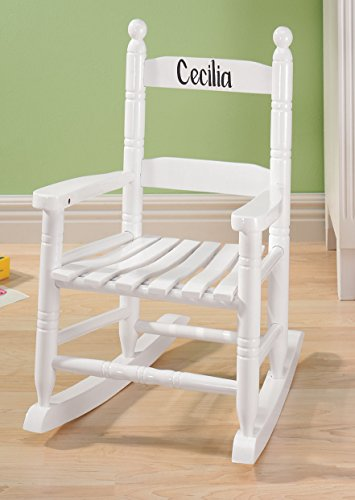 Personalized Childs White Rocker - Black Font -