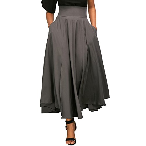 Jessica CC Women' s High Waist Pleated A-line Long Skirt Front Slit Belted Maxi Skirt, Gray, ()