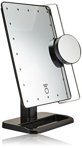sharper-image-js911b-8-inch-by-11-inch-cordless-led-vanity-mirror-and-charging-station