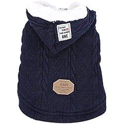shine-hearty Winter Super Warm Pet Puppy Dog Hoodie Sweater Jacket Cat Woollen Coat Dog Sweaters,Blue,S