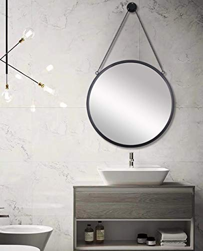 SIMMER STONE 20'' Round Mirror with Hanging Chain, Metal Framed Decorative Wall -