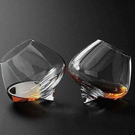 WJJ Botella de Whisky Cristal 2 Unid Whisky Rocker Gafas Regalo Whisky Tumblers Balanceo Whisky Gafas Cristal Corte Transparente Rodamiento Whisky Gafas Barras De Regalo Para Hombres Mujeres Decantado