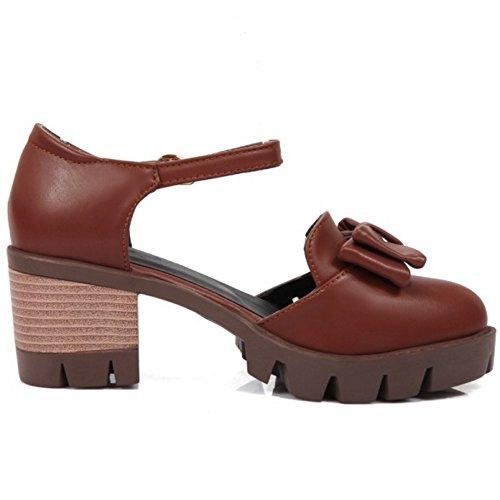 COOLCEPT Mujer Clasico Correa de Tobillo Sandalias Tacon Ancho Plataforma Zapatos con Bowknot Tamano Marron