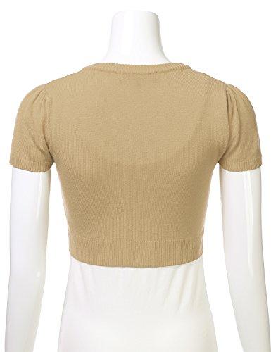 3ec8ced057da1b FLORIA Womens Button Down Short Sleeve Cropped Bolero Cardigan Sweater Sand  4X by FLORIA (Image