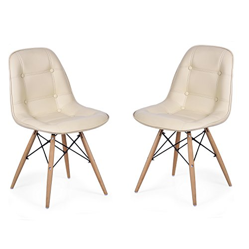 [EDECO Side Leather Chair with 4 Wooden Legs (Set of 2, Beige)] (Bamboo Living Room Folding Chair)