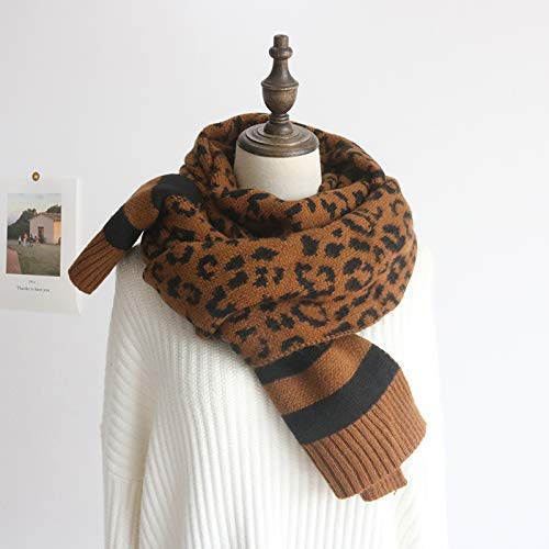 Brown Scarf for Gift Wool Knit Scarf Women's Winter Leopard Fashion Scarf Shawl Female Student Warm Bib (color   Yellow) Classic Scarf (color   Yellow)