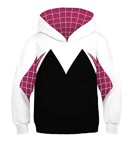 Dark Eyes 3D Kids Hoodie Jacket Superhero Halloween Cosplay Costume White -