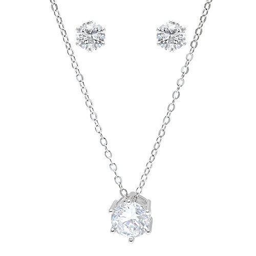 Bridesmaid Gifts – Pretty Simple Cubic Zirconia Necklace & Earrings Set (18″, rhodium plated)