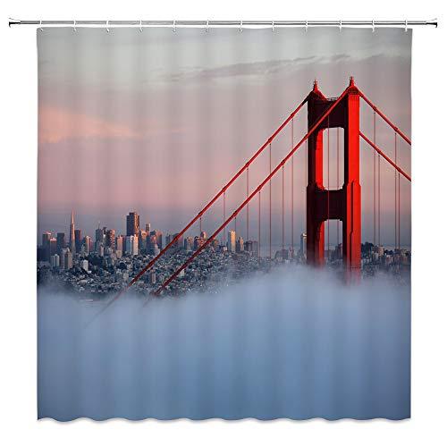 qianliansheji Golden Gate Bridge Shower Room Shower Curtain Real Shot Landscape Shower Mirage Blue Sky Background Shower Curtain Decoration Set Very Strong Will not Fade or Mold 70x70
