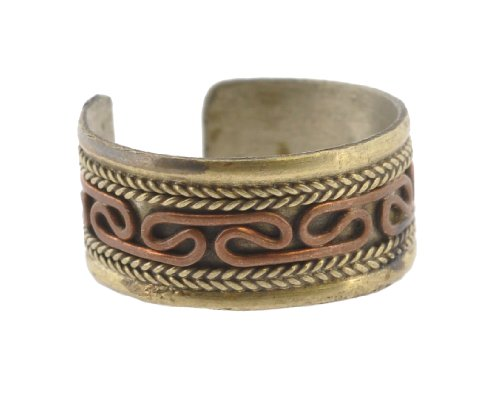 Tibetan Endless Knot Brass Copper Three Metal Ring (Copper Wedding Band)