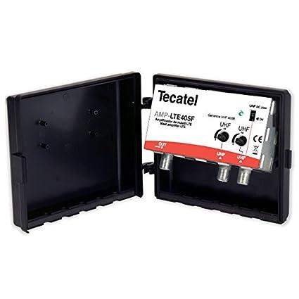 Tecatel AMP-LTE405F - Amplificador mástil 40 dB UHF-UHF LTE, Color Blanco