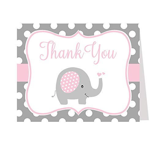 Baby Shower Thank You Cards, Polka dots, Elephant, Pink, Girls, Set of 50 Thank You Notes with Envelopes,