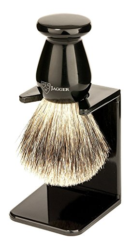 Edwin Jagger Best Badger Shaving Brush with Drip Stand, Imitation Ebony, Medium (Best Edwin Jagger Safety Razor)