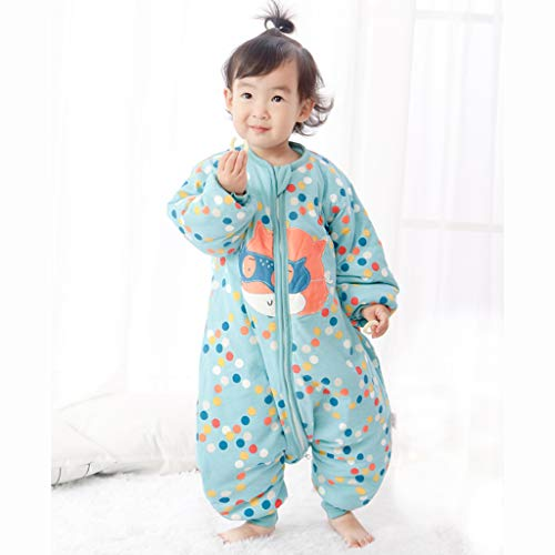 HUYP Split Leg Sleeping Bag Autumn and Winter Thickening Baby Child Child Baby with Sleeve Double Zipper Anti-Kick (Size : XXL) by Baby Sleeping Bag (Image #1)