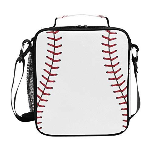 JOYPRINT Lunch Box Bag Baseball Lace Sport Lunchbox Insulated Thermal Cooler Ice Adjustable Shoulder Strap for Women Men Boys Girls ()