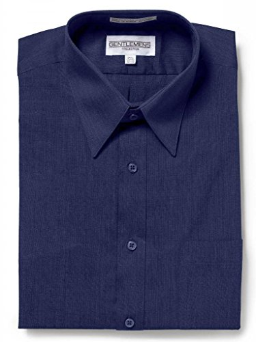 Gentlemens Collection Mens Short Sleeve Dress Shirt - Broadcloth Navy 17.5 Neck 34/35 Sleeve