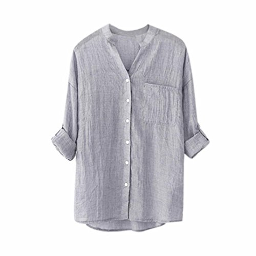 Women Cotton Casual Blouse Roll up 3/4 Sleeve Button Down Tops V...